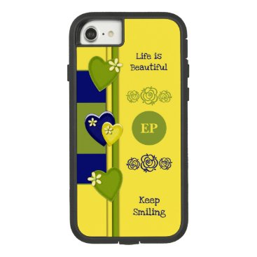 Monogram name with love hearts yellow and blue Case-Mate tough extreme iPhone 8/7 case