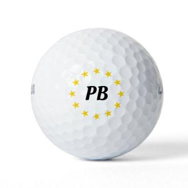 Monogram Name Yellow Stars Personalized Golf Balls