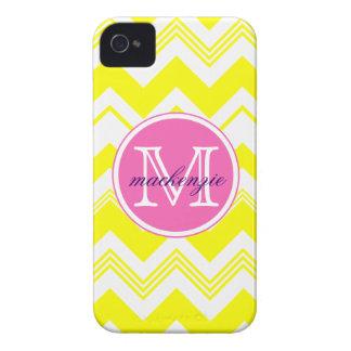 Monogram Name Yellow White Chevron Pattern Case-Mate iPhone 4 Cases
