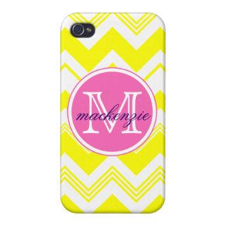 Monogram Name Yellow White Chevron Pattern Cover For iPhone 4
