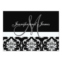 Monogram Names Black Damask Wedding Invitations