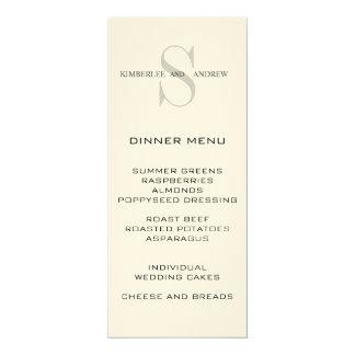 Monogram Names Cream Wedding Menu Card