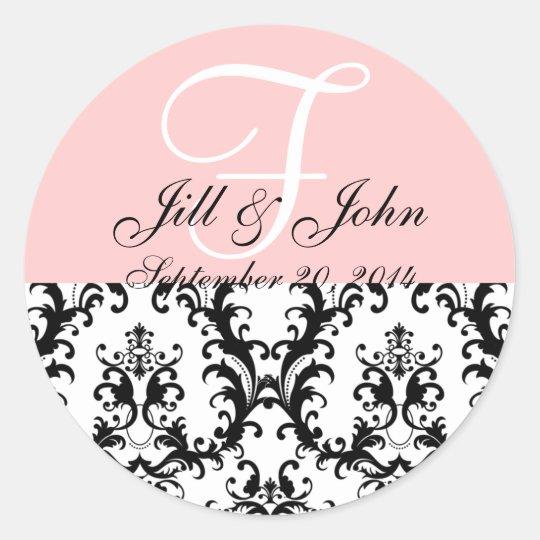 Monogram Names Date Damask Pink Wedding Sticker