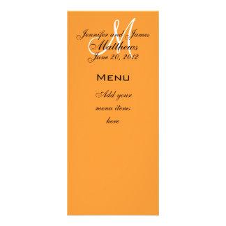 Monogram Names Date Wedding Menu Cards Orange