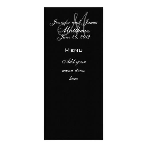 Monogram Names Date Wedding Menu Cards Rack Card Design
