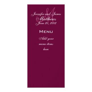 Monogram Names Date Wedding Menu Cards Wine