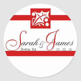Monogram Names Date Wedding Stickers Holly