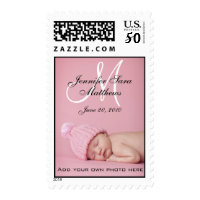 Monogram Names Girl New Baby Postage Stamps