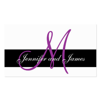 Monogram & Names Purple Wedding Reception Card Double-Sided Standard Business Cards (Pack Of 100)