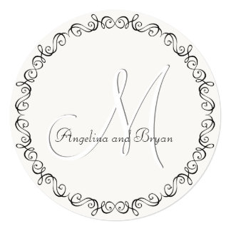 Monogram Names Simple Wedding Invitation