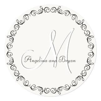 Monogram Names Simple Wedding Invitation