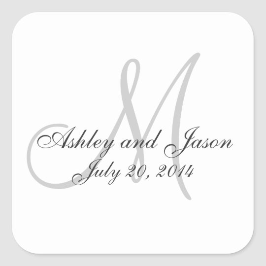 Wedding Gift Sticker Template : Monogram Names Wedding Favor Sticker Template Zazzle