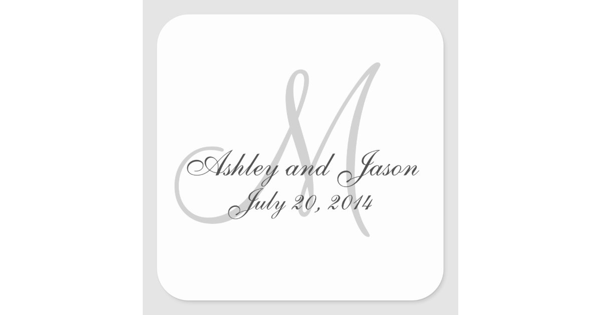 Monogram Names Wedding Favor Sticker Template Zazzle