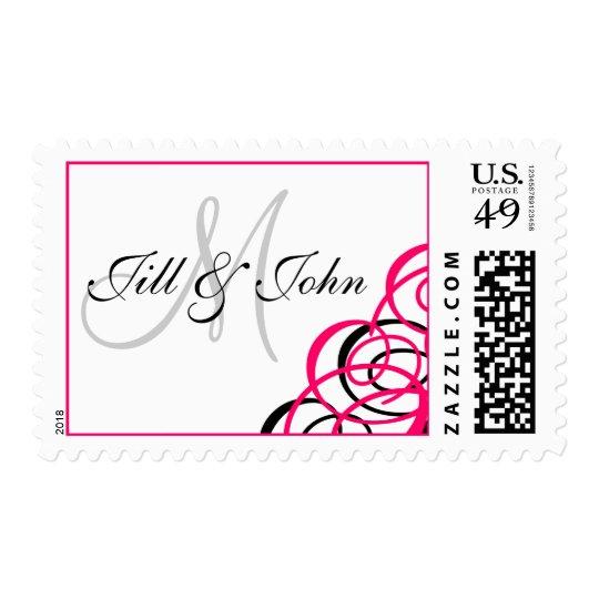 Monogram Names Wedding Postage White Fuchsia
