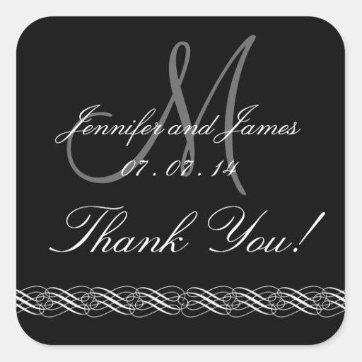 Monogram Names Wedding Thank You Stickers