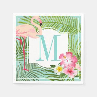 Monogram Napkins | Tropical Flamingo with Flowers