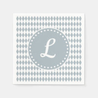 Monogram napkins with white & gray diamond pattern