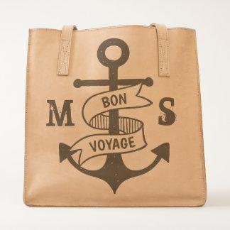Monogram. Nautical. Anchor. Bon Voyage. Tote