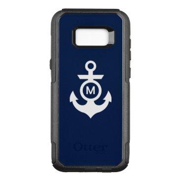 Beach Themed Monogram   Nautical Anchor OtterBox Commuter Samsung Galaxy S8  Case