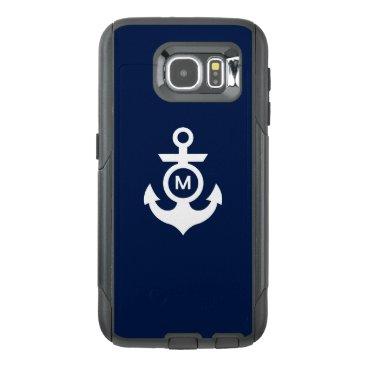 Beach Themed Monogram   Nautical Anchor OtterBox Samsung Galaxy S6 Case