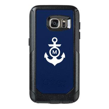 Beach Themed Monogram   Nautical Anchor OtterBox Samsung Galaxy S7 Case