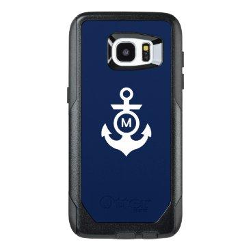 Beach Themed Monogram   Nautical Anchor OtterBox Samsung Galaxy S7 Edge Case