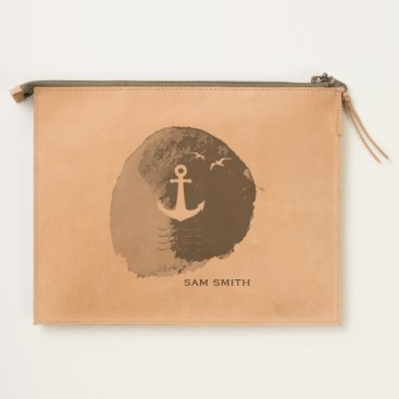 Beach Themed Monogram. Nautical Anchor Theme in Watercolor. Travel Pouch