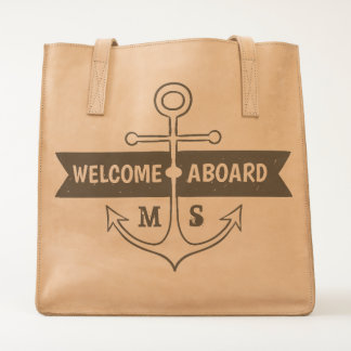 Monogram. Nautical. Anchor. Welcome Aboard. Tote