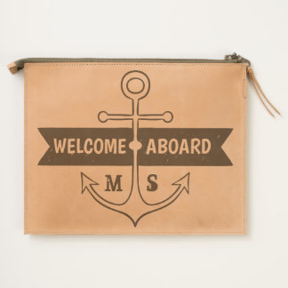 Monogram. Nautical. Anchor. Welcome Aboard. Travel Pouch
