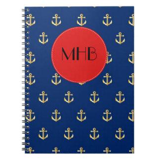 Monogram - Nautical Anchors (Boat Anchors) - Gold Notebook