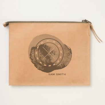 Beach Themed Monogram. Nautical Compass Theme in Watercolor. Travel Pouch