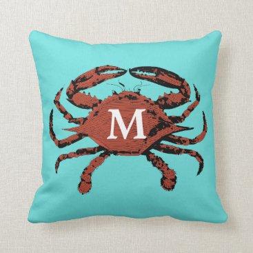 Beach Themed Monogram Nautical Crab Teal Unique | Throw Pillows