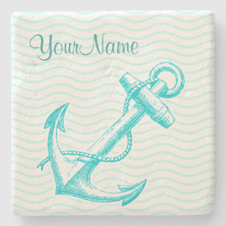 Monogram Nautical Drink Coasters Stone Beverage Coaster