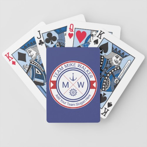 Monogram Nautical Logo Anchor Wheel Helm Motto Bicycle Playing Cards