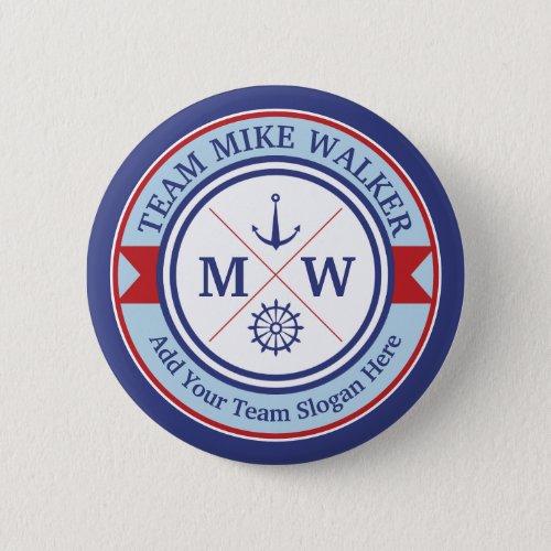 Monogram Nautical Logo Anchor Wheel Helm Motto Button