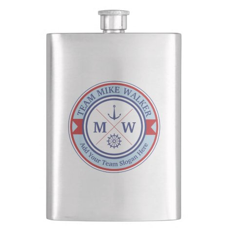 Monogram Nautical Logo Anchor Wheel Helm Motto Flask
