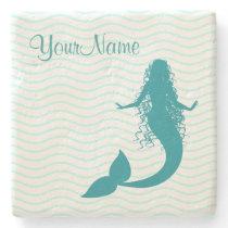 Monogram Nautical Mermaid Stone Coaster