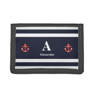 Beach Themed Monogram Nautical Navy Blue White Stripes Tri-fold Wallets