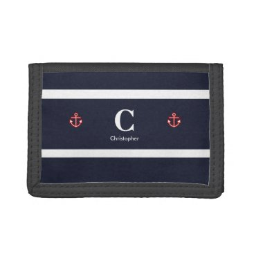 Beach Themed Monogram Nautical Navy Blue White Stripes Trifold Wallets