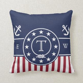 Monogram Nautical Patriotic Blue Anchor and Line Throw Pillow