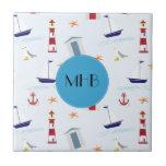 Monogram - Nautical Pattern (Marine Pattern) Ceramic Tile