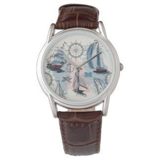 Monogram. Nautical. Regatta. Wristwatch