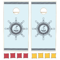 Monogram. Nautical. Sailing Ship. Cornhole Set