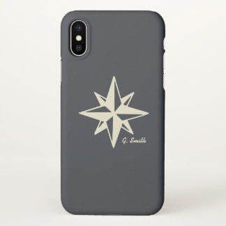 Monogram. Nautical. Star. iPhone X Case