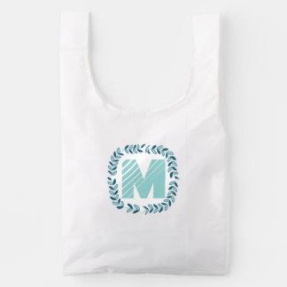 Monogram Navy and Aqua Leaf Garland Reusable Bag