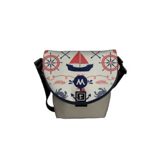 Monogram Navy and Coral Nautical Anchor Pattern Courier Bag