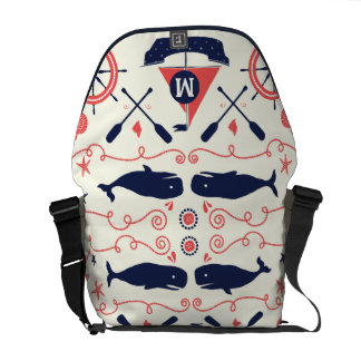 Monogram Navy and Coral Nautical Anchor Pattern Messenger Bag