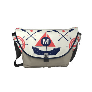 Monogram Navy and Coral Nautical Anchor Pattern Small Messenger Bag
