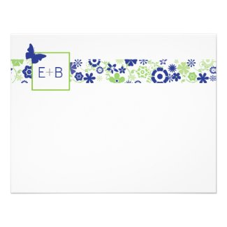 Monogram Navy and Lime Flat Note Card