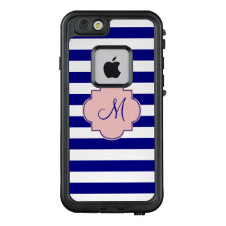 Monogram Navy Blue and Baby Pink Striped Pattern LifeProof FRĒ iPhone 6/6s Case
